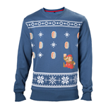 NINTENDO Super Mario Bros. Men's Running Xmas Mario Christmas Jumper, Large, Blue
