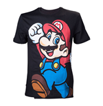 NINTENDO Super Mario Bros. Adult Male Let's Go Mario T-Shirt, Medium, Black