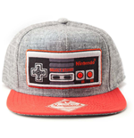 NINTENDO Original Embroidered Retro NES Controller Unisex Snapback Baseball Cap, One Size, Grey/Red