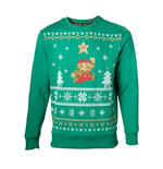 NINTENDO Super Mario Bros. Men's Running Xmas Mario Christmas Jumper, Large, Green (SW238002NTN-L)