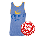 CORONA EXTRA Men's Blue Pop Top Tank Top