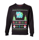 POKEMON Men's Bulbasaur in the Snow Christmas Jumper, Extra Large, Charcoal/Black