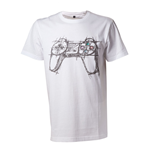 SONY Playstation Adult Male Artistic Sketch Controller T-Shirt, Medium, White