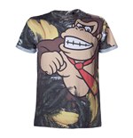 NINTENDO Super Mario Bros. Adult Male Donkey Kong All-Over Sublimation T-Shirt, Large, Multi-Colour