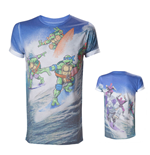 TEENAGE MUTANT NINJA TURTLES (TMNT) Adult Male Surfing Turtles All-Over Sublimation T-Shirt, Medium, Multi-Colour