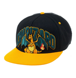 POKEMON Unisex Charizard Dragon Snapback Baseball Cap, One Size, Black/Orange