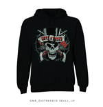 Guns N' Roses Men's Hooded Top: Distressed Skull