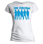 One Direction Women's Skinny Fit Tee: Silhouette Blue on White