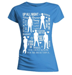 One Direction Women's Skinny Fit Tee: Silhouette Lyrics White on Blue