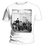 One Direction Women's Skinny Fit Tee: Band Lounge Black & White