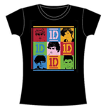 One Direction Women's Skinny Fit Tee: 9 Squares