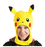 POKEMON Unisex Pikachu Face with Ears Earflap Beanie, One Size, Yellow