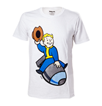 FALLOUT 4 Adult Male Vault Boy Bomber T-Shirt, Extra Large, White