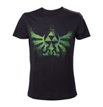 NINTENDO Legend of Zelda Adult Male Distress Green Royal Crest T-Shirt, Extra Small, Black