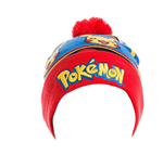 POKEMON Unisex Embroidered Pikachu with Red Pom-Pom Cuffless Beanie, One Size, Multi-Colour
