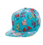 POKEMON Unisex Dragon Characters All-Over Pattern Snapback Baseball Cap, One Size, Turquoise