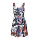 MARVEL COMICS Ultimate Spider-Man Adult Female Colourised Comic Strip Sleeveless Dress, One Size, Multi-Colour