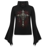 Death Bones - High Neck Goth Top Black