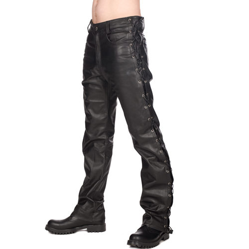 Mode Wichtig Mens Biker Pants Buffalo Leather