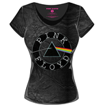 Pink Floyd Girlie T-shirt - Acid Wash Vintage Circle Logo Black Grey