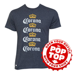 Men's Cotton Blend Corona Four Rows Navy Bottle Opener Pop Top T-Shirt