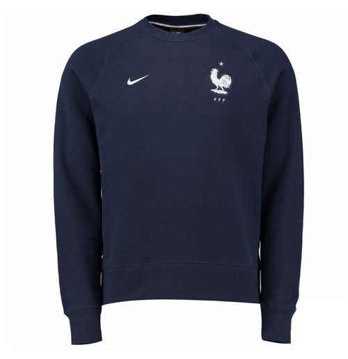 Buy Official 2016-2017 France Nike AW77 LS Crew Sweater (Navy) e792fc413
