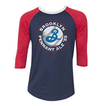 Men's BROOKLYN BREWERY Pennant Ale Blue And Red Baseball T-Shirt