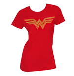 Women's WONDER WOMAN Gold Rhinestones Logo T-Shirt