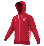 2016-2017 Bayern Munich Adidas 3S Hooded Zip (Red)