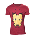MARVEL COMICS Adult Male Iron Man Mask T-Shirt, Small, Red