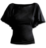 Gothic Elegance - Boat Neck Bat Sleeve Top Black Plus Size