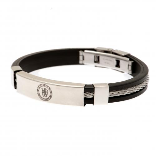 Chelsea F.C. Silver Inlay Silicone Bracelet