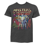 He-Man Masters Of The Universe Dark Grey Characters Logo Tee Shirt