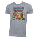 He-Man Masters Of The Universe Grey Characters Logo Tee Shirt