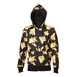 POKEMON Adult Male Pikachu All-over Full Length Zipper Hoodie, Large, Black/Yellow