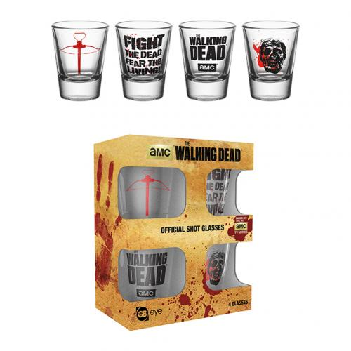 The Walking Dead 4pk Shot Glass Set