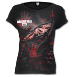 Logo - Blood Hand Prints - Walking Dead Ripped Cap Sleeve Black