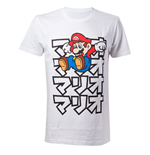 NINTENDO Super Mario Bros. Adult Male Japanese Mario T-Shirt, Large, White