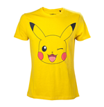 POKEMON Men's Pikachu Winking T-Shirt, Large, Yellow