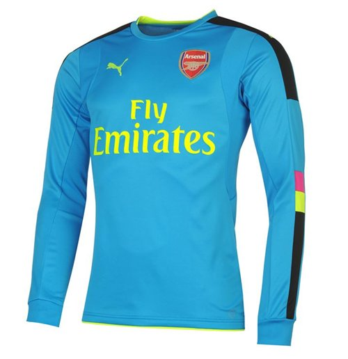 Buy 2016-2017 Arsenal Puma Away LS Goalkeeper Shirt (Blue) - Kids f7b3ea46d