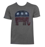 Republican Grey Men's Distressed Elephant Tee Shirt