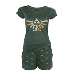 NINTENDO Legend of Zelda Hyrule Royal Crest Shortama Nightwear Set, Small, Green