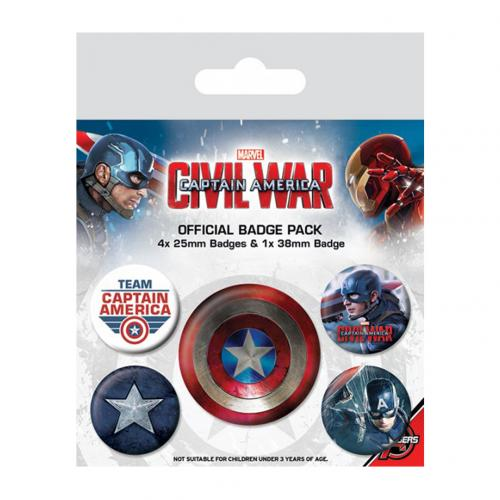 Captain America Civil War Button Badge Set