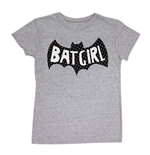 BATMAN Batgirl Girls Youth Flitter Logo Tee Shirt