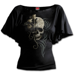 Dark Angel - Boat Neck Bat Sleeve Top Black