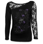 Entwined Skull - Lace One Shoulder Top Black