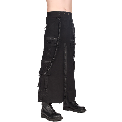Black Pistol Chain Skirt Denim