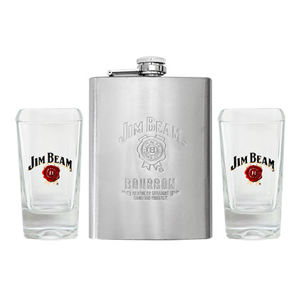 JIM BEAM Flask/Glass Set