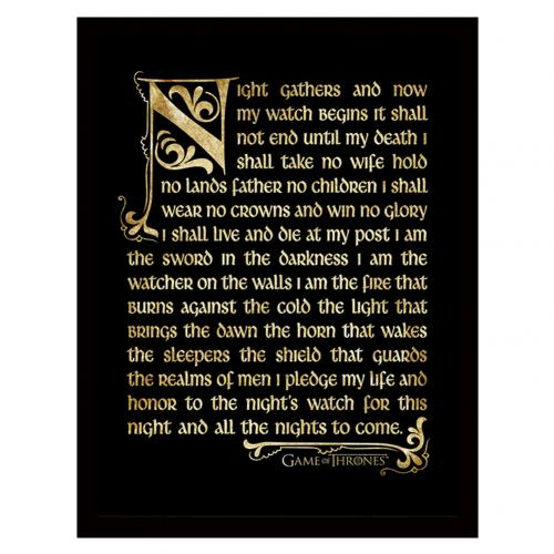 Game Of Thrones Framed Print Nights Watch 16 x 12