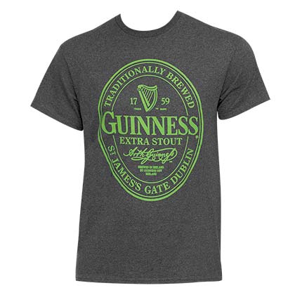 GUINNESS Green Logo Men's Grey Tee Shirt